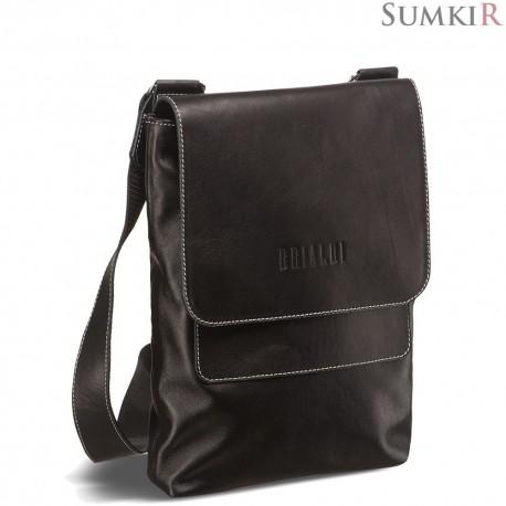 Brialdi Pigna (Пинья) black Кожаная сумка через плечо