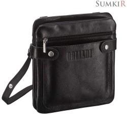Brialdi Newport (Ньюпорт) black Кожаная сумка через плечо