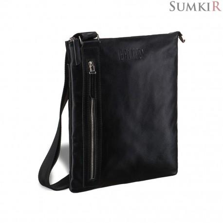 Brialdi Lignano (Линьяно) black Кожаная сумка через плечо