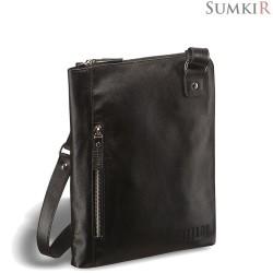Brialdi Gaeta (Гаета) black Кожаная сумка через плечо