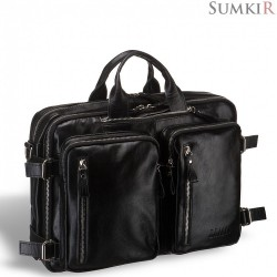 Brialdi Norman (Норман) shiny black Мужская сумка-трансформер