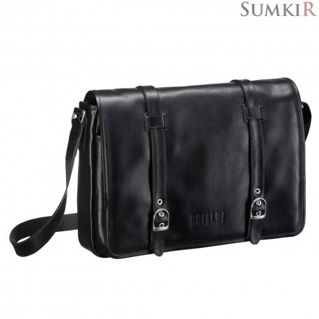 Brialdi Turin (Турин) black Кожаная сумка через плечо