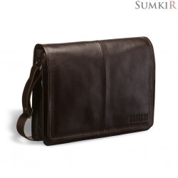 Brialdi Ancona (Анкона) brown Кожаная сумка через плечо